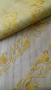 Tussar Silk Saree with Embroidery-Silk Saree-House of Taamara-House of Taamara