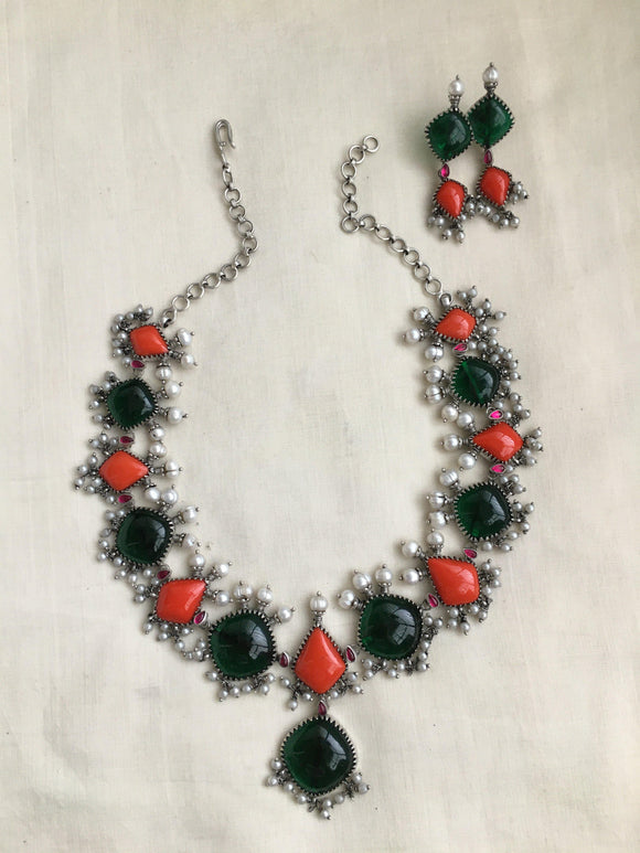 Victorian work with coral & green stones set-Silver Neckpiece-SU-House of Taamara
