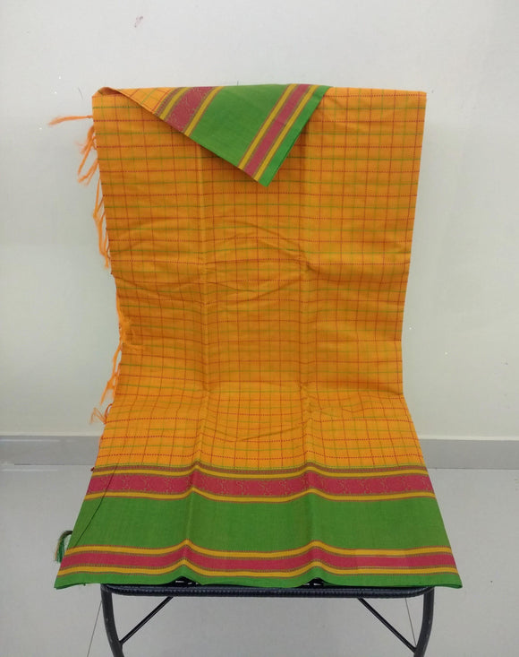 Yellow Checks Kanchi Cotton Saree-Saree-House of Taamara-House of Taamara