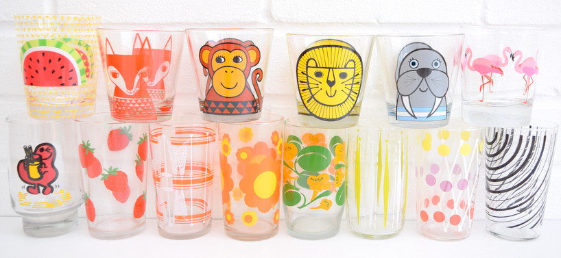 Vintage drinking glasses and Retro Jane Foster
