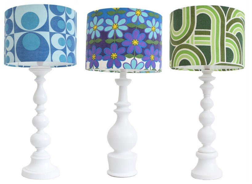 Trio of vintage lamp bases and coloured vintage shades