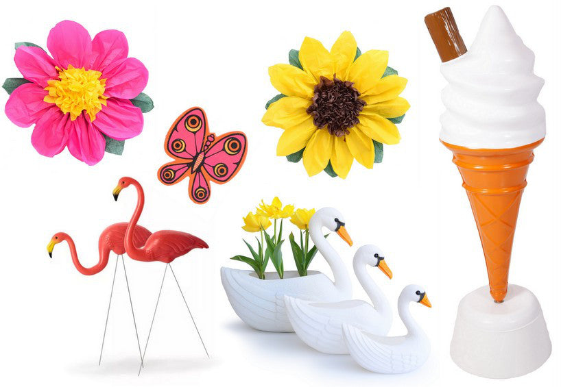 Ice cream, flamingo, paper flowers, swan and butterfly clip