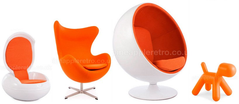 Orange Eames panton egg etc chairs