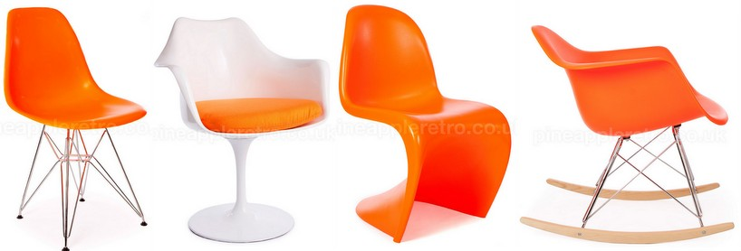Orange eames panton style chairs