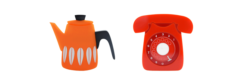 Orange Cathrineholm Style Coffee Pot, Red GPO-style Telephone Brooch