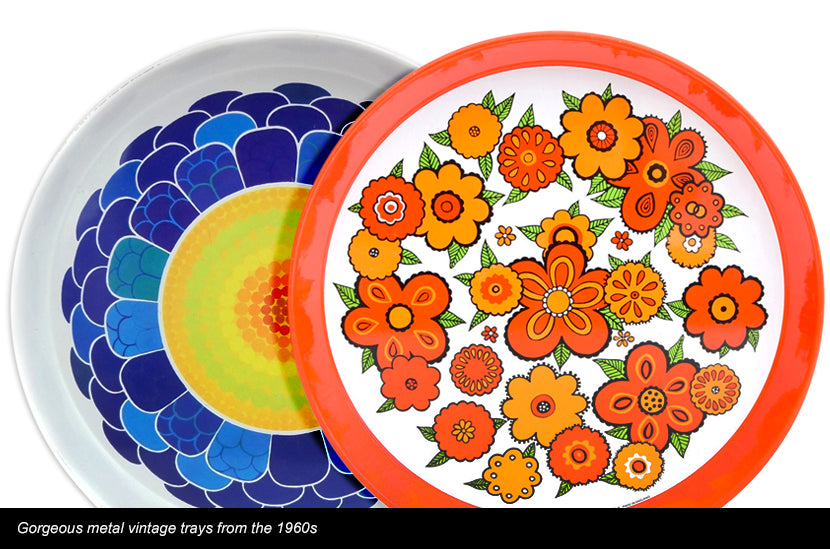 Vintage 60s Round Metal Trays - Flower Designs