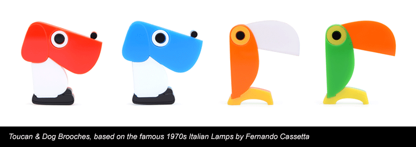 Toucan & Dogs based on the famous 1970s Italian Lamps by Fernando Cassetta