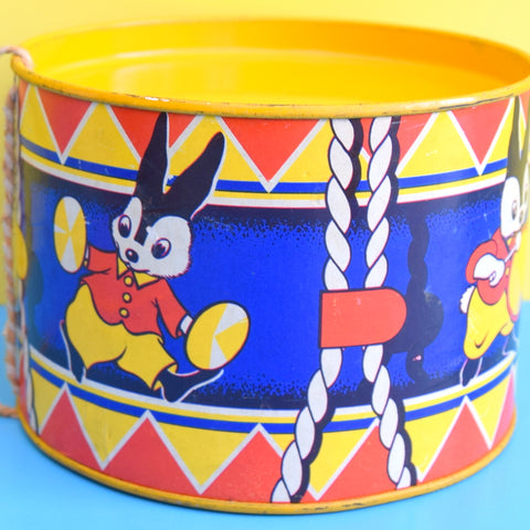 Vintage 1960s kitsch Metal Drum - Bunnies
