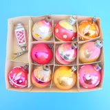Vintage 1950s Medium Glass Christmas Baubles - Pink & Orange .