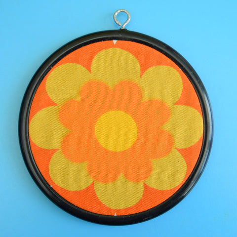 Vintage Fabric Small Wall Art Circle - Heals Flower 1960s, Orange, Green, Yellow