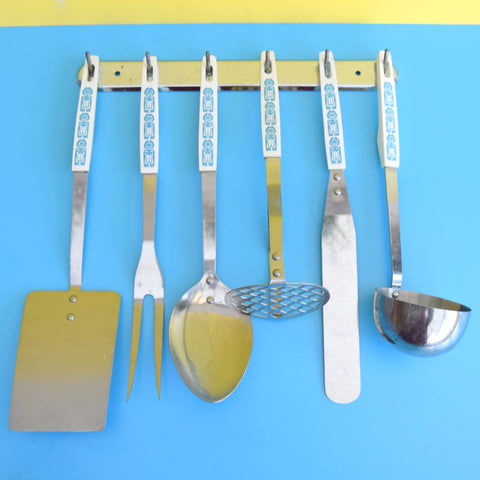 Vintage 1960s Kitchen Utensil Set On Rack - Blue & White