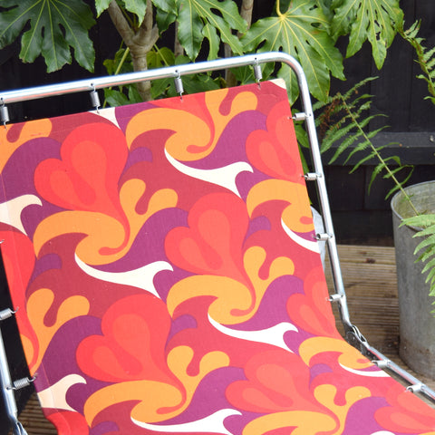 Vintage 1970s Garden Sun Lounger - Red, Purple & Orange Swirl
