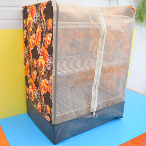 Vintage 1970s Folding Camping Store- Flower Power - Orange
