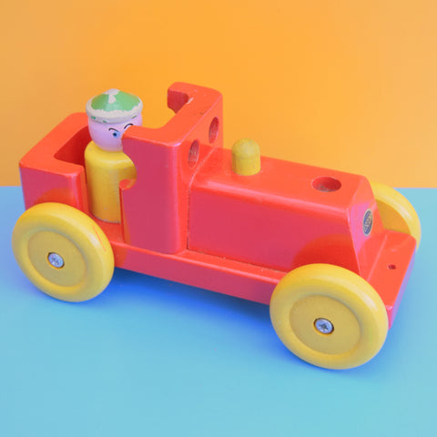 Vintage 1960s Wooden Train Toy With Driver - Escor