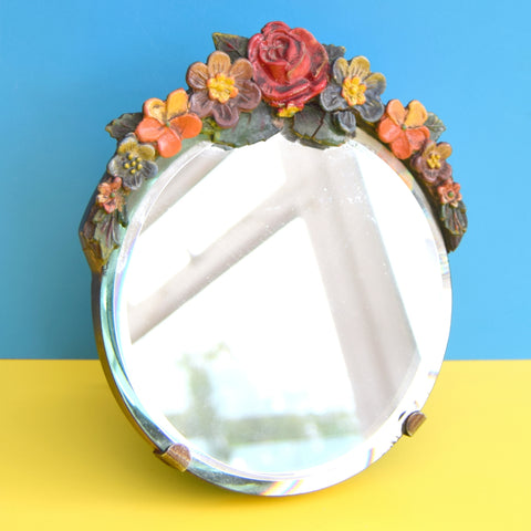 Vintage 1930s Barbola Mirror - Flowers - Pink & Orange