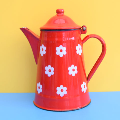 Vintage 1970s Enamel Coffee Pot - Flower Power - Red & White