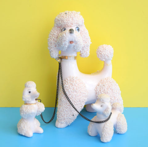 Vintage 1950s Ceramic Poodle Family With Chain - Pink