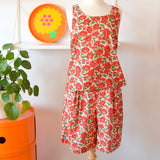 Vintage 1980s Cotton Two Piece - Liberty - Nasturtium Print - Size 14