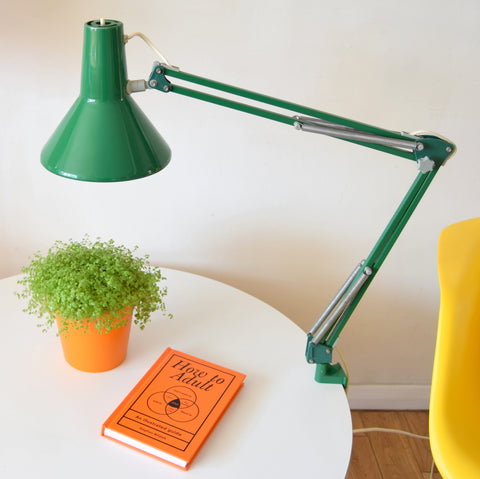 Vintage 1970s Danish Anglepoise Clamp Desk Lamp - Green