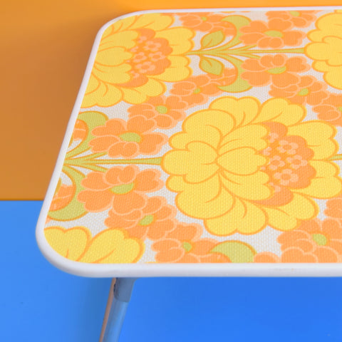 Vintage 1960s Folding Low Table - Flower Power - Orange