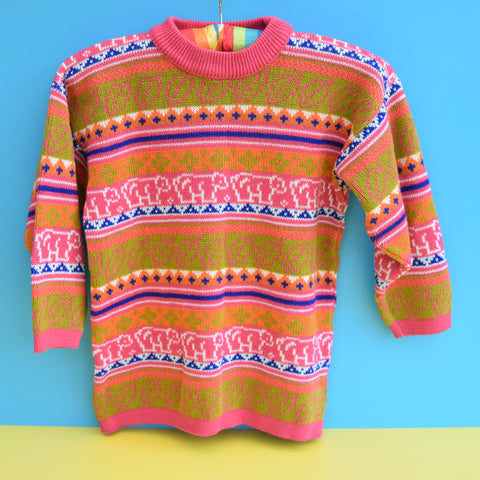 Vintage 1980s Kids Jumper - Age 5-6 - Orange & Pink