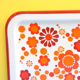 Vintage 1960s Metal Tray - Flower Power Design - Orange