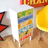 Vintage 1970s Drawer Unit - Vintage Wallpapers / Handles - Patchwork