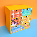 Small Wooden Drawer Unit - Vintage Wallpapers - Patchwork