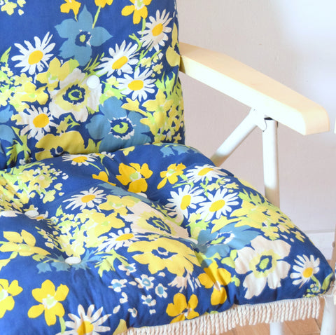 Vintage 1970s Danish Padded Garden Chairs - Flower Power - Blue