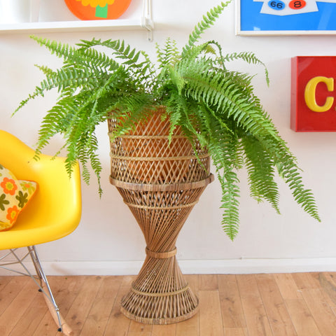 Vintage 1970s Extra Large Wicker / Bamboo Pedestal Planter