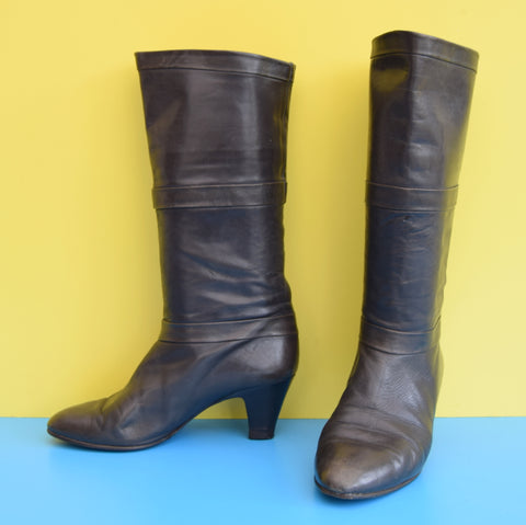 Vintage 1980s Soft Leather Italian Cuff Boots - Dark Grey - Sz 5