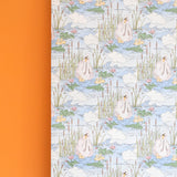 Vintage 1970s Wallpaper- Kitsch Swan Repeat - Full Roll