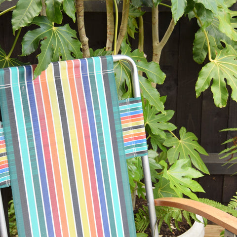 Vintage Striped 1960s Folding Garden Chair - Double Rainbow Stripe