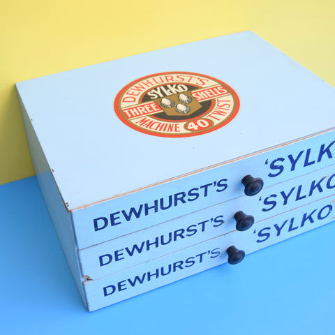 Vintage 1950s Dewhurst's Sylko Drawers - Jewellery / Craft Storage - Blue