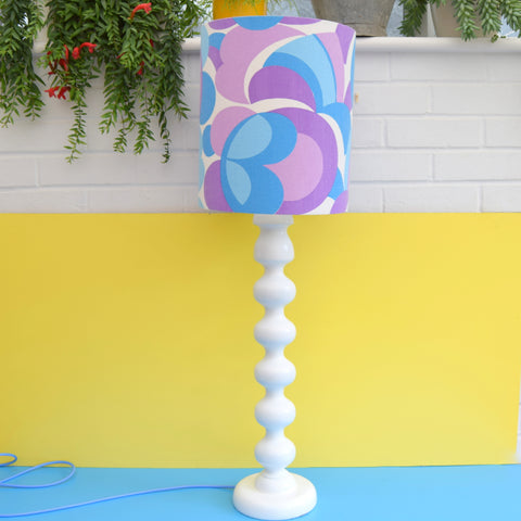 Vintage 1970s Bobbled Lamp Base - Blue, Purple & White