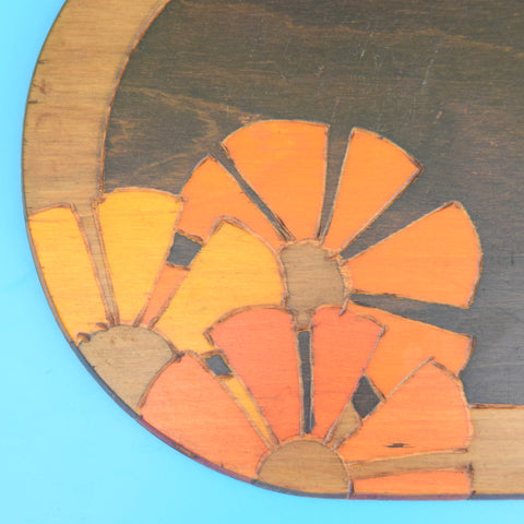 Vintage 1930s Wooden Trays / Platters - Flower Power
