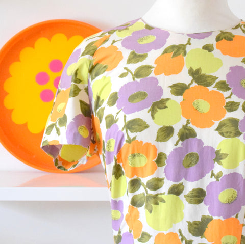 Vintage 1960s Fit & Flare Flower Power Dress - Sz 14 - Purple & Orange