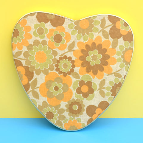 Vintage 1960s Heart Shaped Side Table - Wood Legs & Flower Power Top