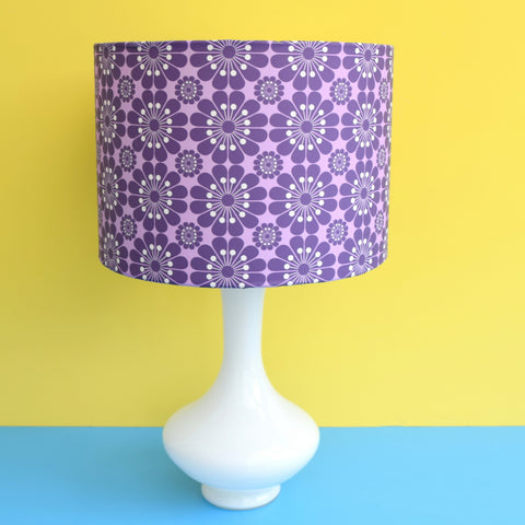 Vintage 1960s Glass Lamp & Flower Power Shade - Purple