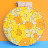 Vintage Large Fabric Wall Art Circle - Flower Power Print - Yellow