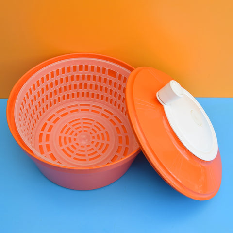 Vintage 1970s Salad Spinner - Orange Plastic