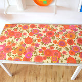 Vintage 1960s Vinyl Covered Table - Flower Power - Pink & Orange