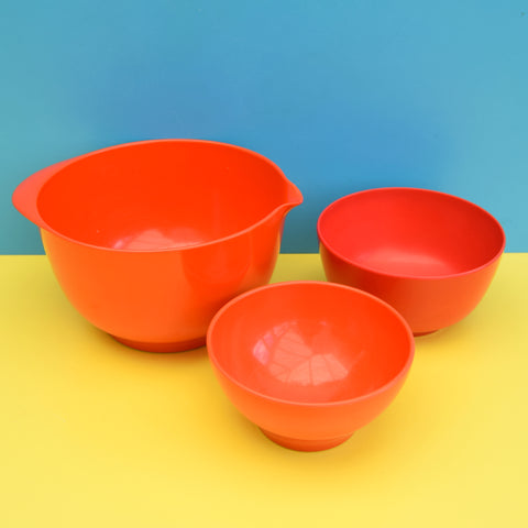 Vintage 1970s Rosti Plastic Bowls - Danish Melamine - Red / Blood Orange