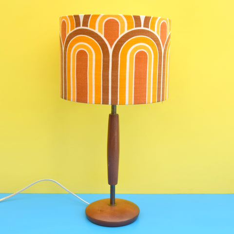 Vintage 1960s Wooden Teak Table Lamp - Geometric Arch Shade - Orange