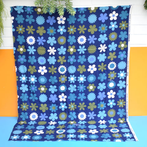 Vintage 1960s Fabric - Genia Sapper Heidi - Flower Power - Blue .
