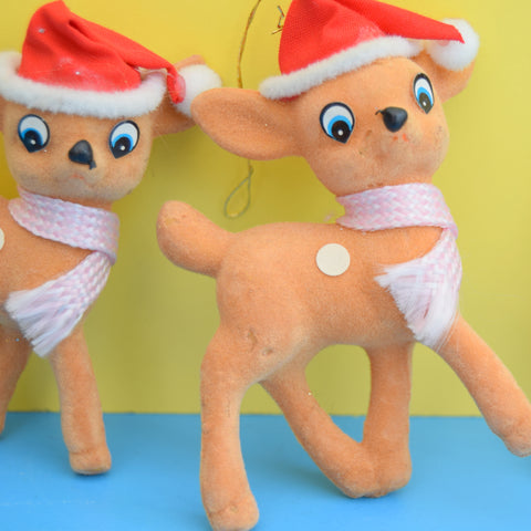 Vintage 1970s Flocked Bambi Christmas Decorations x3