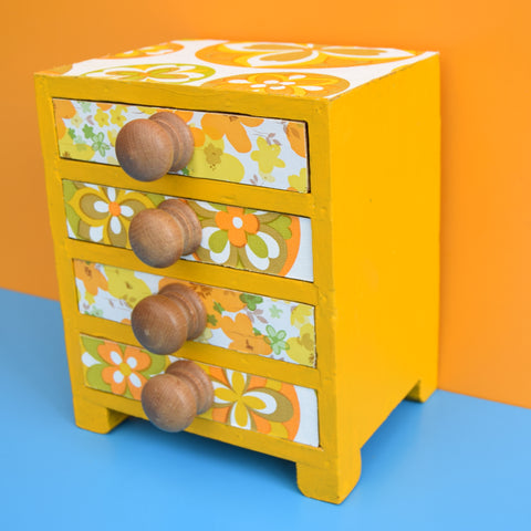 Vintage Tiny Wooden Drawer Unit - Vintage Wallpapers - Yellow