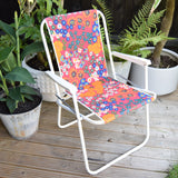 Vintage 1960s Folding Garden Chair - Flower Power - Red, Blue & Orange