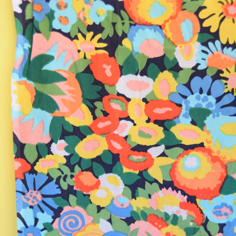 Vintage 1950s Silk Fabric - Flower Power - Pink / Green