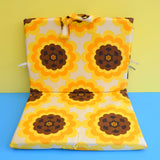 Vintage 1960s Padded Long Folding Cushion - Yellow & Brown Flower Power